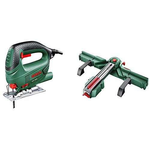 Bosch 0.603.3A0.700 Sierra de calar con maletín, 240 V, Negro/Verde, 500 W + Bosch 0.603.B04.000 Estación serrado y Cortador de baldosas, Verde