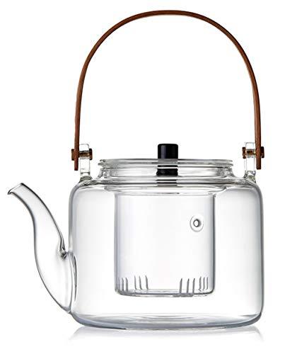 IwaiLoft 手作り 耐熱ガラス ティーポット 茶こし付き ガラス製ポット 木製 竹製 持ち手 ジャンピング 紅茶ポット フルーツティー リーフティー 花茶 工芸茶 ハーフティー に 直火可 大容量 IL-G1968 (平光, 1000ml)