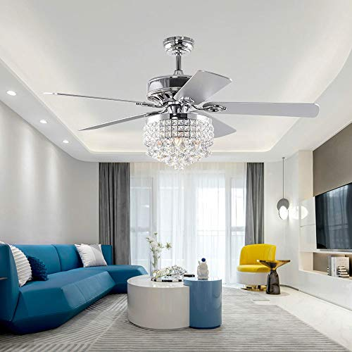 LuxureFan 52' Crystal LED Chrome Ceiling Fan Light Fixture Gorgeous Crystal 5 Reverse Wood Blades Modern Chandelier with Remote Control Decoration Home/Living Room