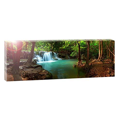 Querfarben Bild auf Leinwand mit Landschaftsmotiv Asiatischer Wasserfall   150 x 50 cm, Farbig, Wandbild, Leinwandbild mit Kunstdruck, See & Meer Bild fertig auf Holzrahmen gespannt, 50x150 cm