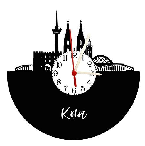 Wanduhr Köln Skyline mit Ziffernblatt, Schallplattenuhr mit Quarzwerk