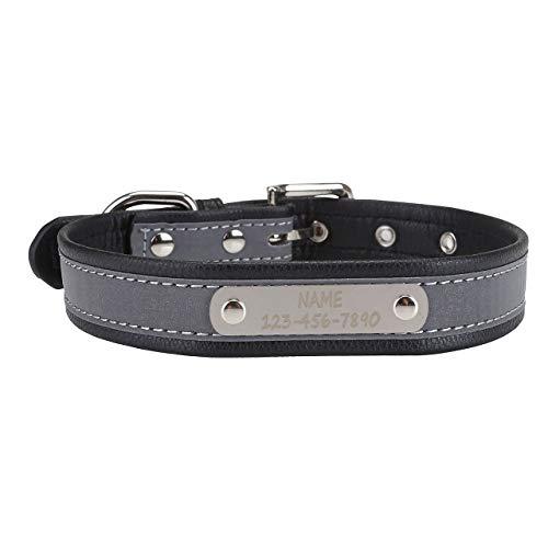 Filhome Collar de perro personalizado con placa para nombre y número de teléfono para perros pequeños, medianos y grandes, negro/S