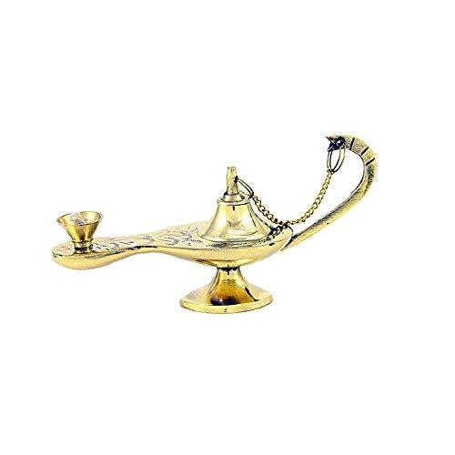NKlaus 2740 Orientalische Aladdin Wunderlampe Öllampe Arabische Genie Lampe mit Docht Messing