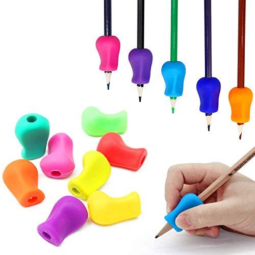 鉛筆グリップ 矯正(左右手兼用)鉛筆持ち方 元の人間工学的の筆記補助グリップ は子供用 学生 (10個)