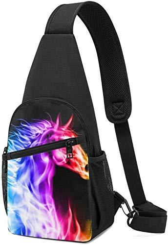 Nigel Tomm Sling Bag Fire Horse Impreso Hombro Mochila Crossbody Monedero Viaje Senderismo Bolsa De Pecho Mochila