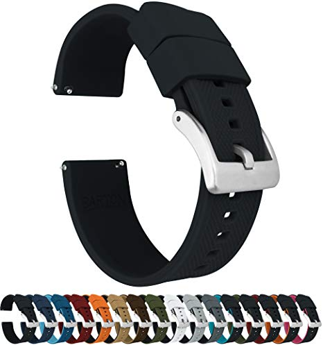 22mm Black - Barton Elite Silicone Watch Bands - Quick Release - Choose Strap Color & Width