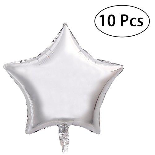 TOYMYTOY 18 Zoll Folie Ballon fünfzackigen Stern Mylar Ballons für Party 10pcs (Silber)