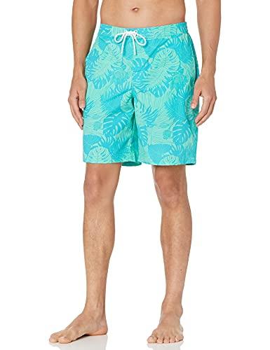 28 Palms Men's 9' Inseam Tropical Hawaiian Print Cotton Nylon Swim Board Short, Teal/Green Large Leaves, 36