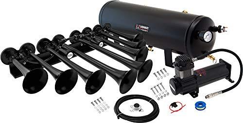 Vixen Horns Train Horn Kit for Trucks/Car/Semi. Complete Onboard System- 200psi Air Compressor, 3 Gallon Tank, 3 Trumpets. Super Loud dB. Fits Vehicles Like Pickup/Jeep/RV/SUV 12v VXO8330B/8124XB