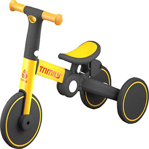 Bestting Triciclo Infantil 5 En 1, Bicicleta De Equilibrio para Niños con Altura De Asiento Ajustable para Niños Pequeños Primeros Juguetes para Montar Regalo De Cumpleaños,Amarillo