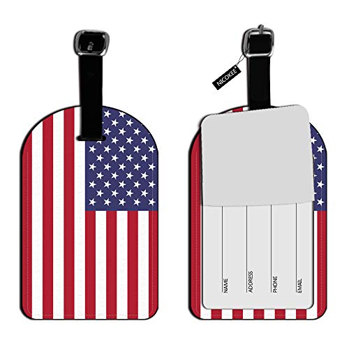 Etiquetas de identificación para equipaje de la bandera estadounidense de Nicokee, diseño de rayas, color blanco, rojo, azul, piel, etiquetas para bolsa de viaje