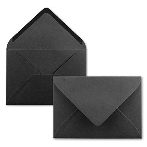 Brief-Umschläge in Schwarz - 25 Stück - DIN C5 Kuverts 22,0 x 15,4 cm - Nassklebung ohne Fenster - Weihnachten, Grußkarten - Serie FarbenFroh®