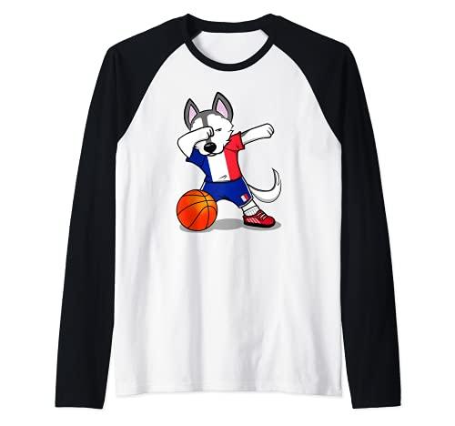 Dabbing Husky Perro Baloncesto de Francia - Bandera Francesa Camiseta Manga Raglan