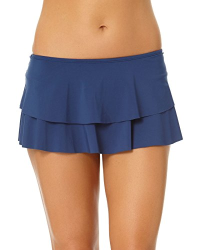 Cole of California Women's Plus-Size Super Solids Tiered Ruffle Skirted Bikini Bottom, Navy, 18