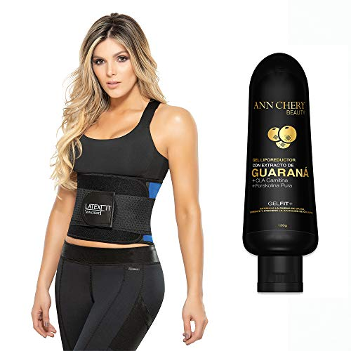 Ann Chery 2051 Latex Fit Waist Trimmer Belt Blue with Guarana Slimming Gel. Waist Trainer Girdle Faja Colombiana (M)