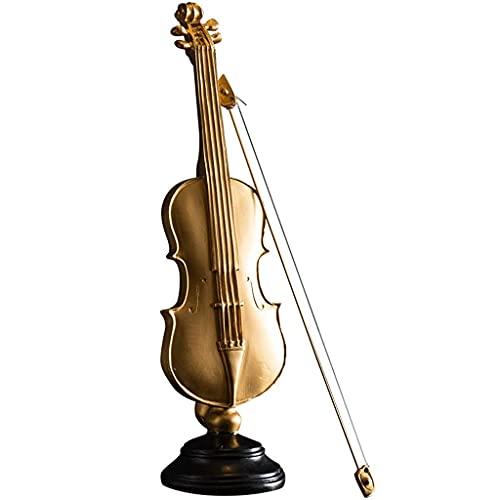 Nueva fuente de agua Esculturas Decoración Resina Violín en miniatura con soporte y estuche Mini Instrumento musical Estatua Modelo en miniatura Decoración del hogar Muebles de escritorio de oficina