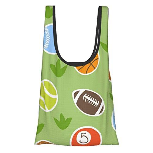 ZCHW Imprimir Pelotas deportivas Bolsas de supermercado lavables reutilizables Bolsas de compras grandes ecológicas plegables