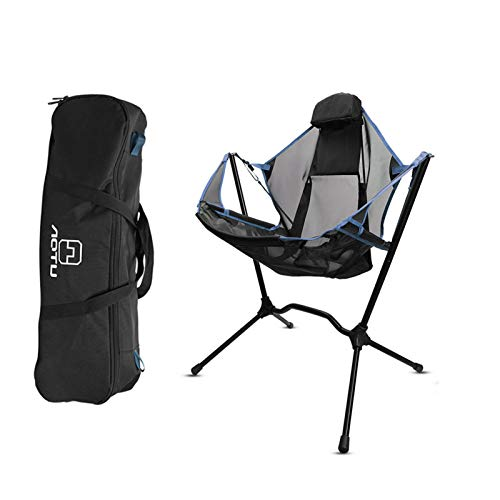 Folding Camp Chair, Portable Aluminum Alloy Frame Folding Rocking Chair Headrest Pillow Carry Bag Included, Support Up to 330-Lbs for Yard, Camping, Fishing