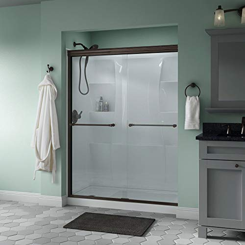 Delta Shower Doors SD3172323 Windemere Semi-Frameless Traditional Sliding Shower Door 60in.x70in, Bronze Track