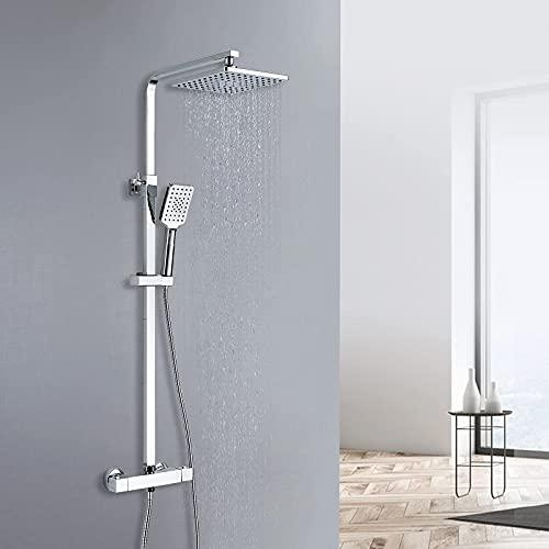 kisimixer sistema de ducha columna de ducha set de ducha varilla de ducha ajustable en altura con ducha fija y teleducha,Ducha de Mano Multifuncional de Mano Columna de Baño