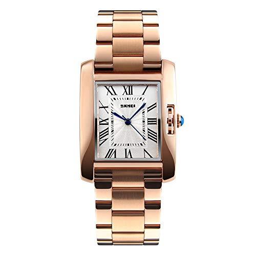WDFDZSW Reloj de Cuarzo de la Manera Sra Negocios, Creativo Reloj de Cuarzo, Acero Rectangular con Impermeable del Reloj de Las Mujeres del Oro de Rose, Regalos for los Amantes (Color : Gold)