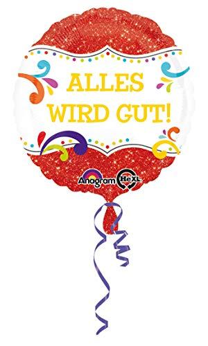 amscan 3409101 Folienballon Alles Wird gut, Rot, Weiß, Gelb