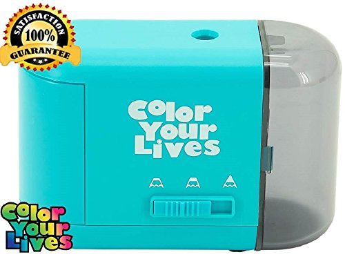 Color Your Lives Electric Pencil Sharpener with 3 Sharpness Settings, USB Plug and Coloring Book, Blue
