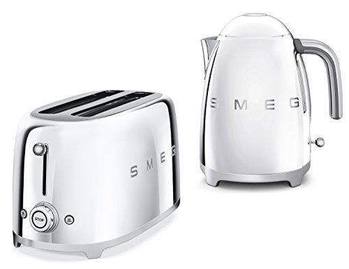 Smeg TSF02SSUK KLF01SSUK | 50er Retro Style 4 Scheiben Toaster & Wasserkocher Set in Chrom