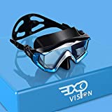 EXP VISION Adult Pano 3 Panoramic View Diving Mask, Tempered Glass Lens Scuba Snorkeling Dive Mask, Premium Swim Goggles with Nose Cover for Snorkeling, Freediving, Swimming (Blue)
