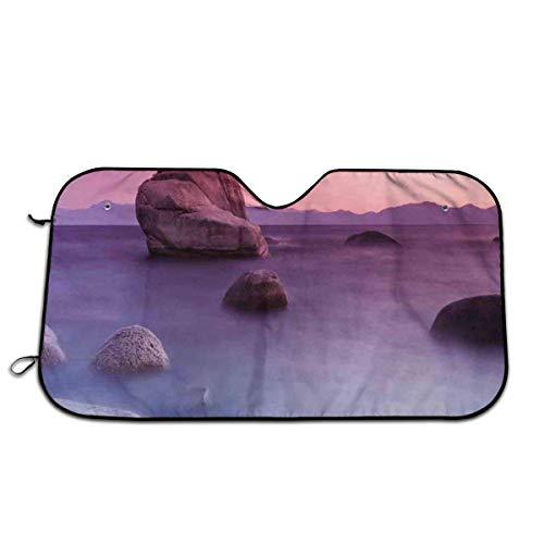 Llynice Bonsai Felsen schwimmend auf nebeligem See, Exquisite Wonders Dreamy Space Landscape, Frontscheibe, Sonnenblende für Auto