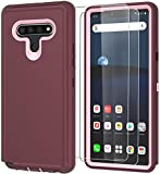 ComoUSA Compatible with LG Stylo 6 Case (2020) with HD Screen Protector [2 Packs], Heavy Duty Hard Shockproof Armor Protector Case Cover for LG Stylo 6 (6.8 inch)(WineRed-Pink)