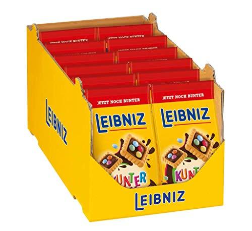 LEIBNIZ Kunterbunt (12x150 g) – knackige Mini-Kekse mit leckerer Schokoladencreme und bunten Schokolinsen, Schoko-Kekse in der Großpackung, Vorratsbox