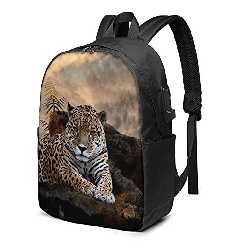 Animal Tiger Mochila, mochila de viaje para portátil con puerto de carga USB para hombres y mujeres de 17 pulgadas - negro - talla única