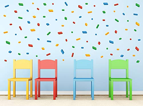 Mini- Building Block Bricks Fabric Wall Decals, Set of 98 Blocks in 4 Colors - Removable, Reusable, Respositionable