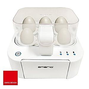 Emerio EB-115560.2, NEUHEIT, kocht alle drei Garstufen [weich|mittel|hart] in nur einem Kochvorgang mit perfektem Ergebnis, Sprachausgabe, einzigartig in Technik und Design, weiß, BPA frei, 400 Watt