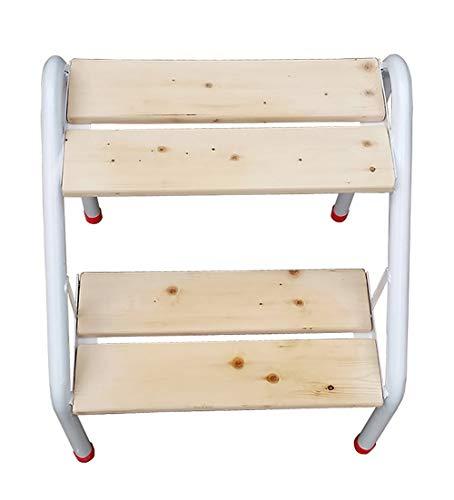 HYY-YY - Taburete para escalones de hierro y madera, 2 escaleras, para escalones, estante de flores, color natural, 40 x 46,5 x 46,5 cm