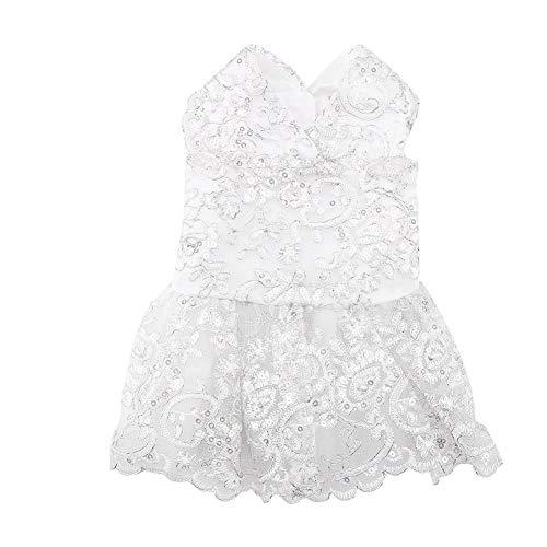 Hunde Kleidung Elegante Kostüm Spitze Haustier formalen Kleid Hochzeits Abendkleidung Formale Kleidung für Hündchen(M-Weiß)