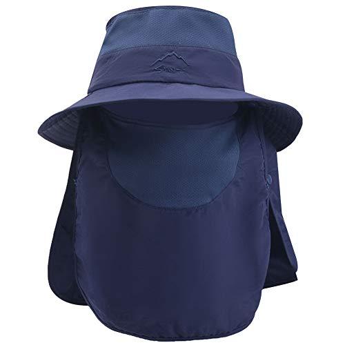 Jamron Unisexe Respirant Large Bord Chapeau de Soleil Multifonctionnel Outdoor Séchage Rapide Chapeau Boonie Pliable Casquette de Pêche Bleu Marin