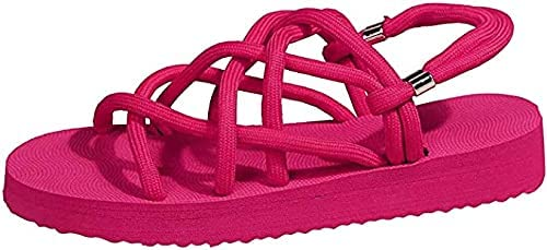 Flat Sandals for Women,Women's Outdoor Flat Slide Sandal Strappy Adjustable Rope Open Toe Flat Sandal Summer Sandals