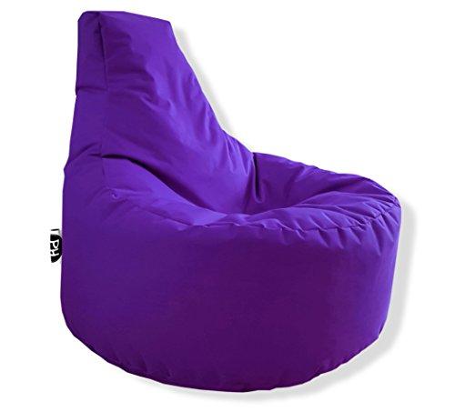 Patchhome Gamer Kissen Lounge Kissen Sitzsack Sessel Sitzkissen In & Outdoor geeignet fertig befüllt | Lila - Ø 75cm x Höhe 80cm - in 2 Größen und 25 Farben