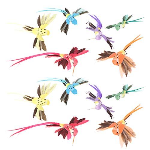 YARNOW 12 Stücke Kolibri Figur Künstliche Vögel mit Federn und Clip Weihnachtsbaumschmuck Schaum Gartendeko Tiere Weihnachtsbaum Deko Weihnachten Dekoration Ornamente
