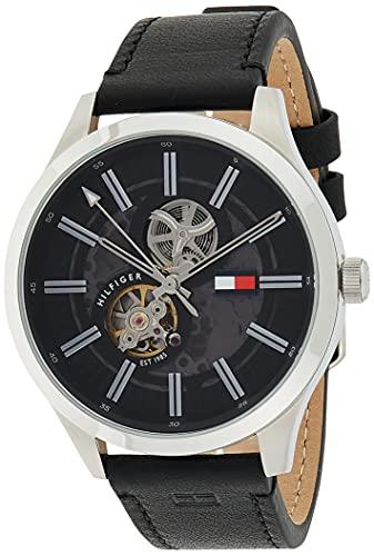 Tommy Hilfiger Herren Analoger Quarz Uhr mit Echtes Leder Armband 1791641
