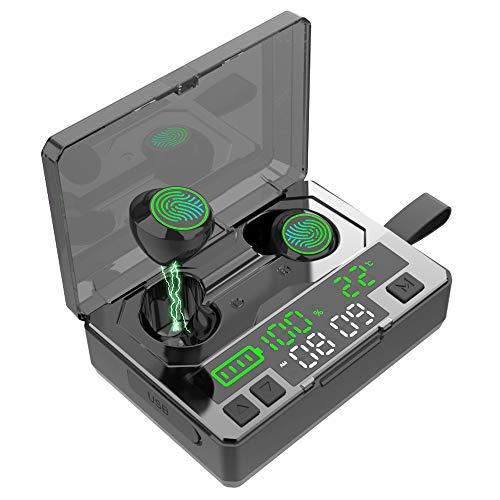 Bluetooth Kopfhörer Kabellose,Sport Ear Ohrhörer Bluetooth 5.0 IPX8 Wasserdicht 190H Spielzeit HiFi Deep Bass 3D Stereo Sound mit 5000mah Ladebox Touch Control für Android & iOS