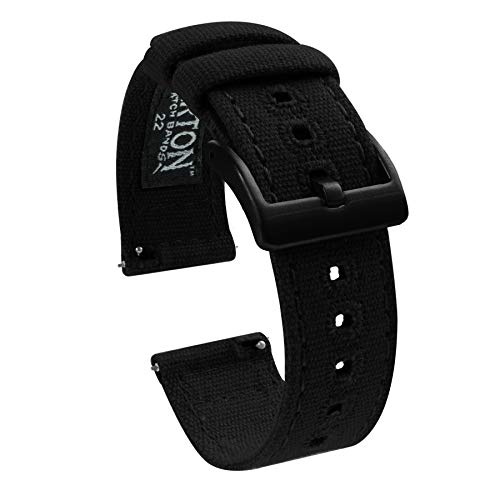 22mm Black - BARTON Canvas Quick Release Watch Band Straps -...
