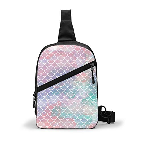 Pink Rainbow Mermaid Fish Scallop Chest Package Multipurpose Crossbody Outdoor Shoulder Bag Daypack Sling Backpack Large Capacity Casual Sport Rucksack for Hiking Travel Sport