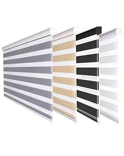 Fensterdecor Doppel-Rollo mit Aluminium-Kassette, Rollo für Fenster mit seitlichem Kettenzug, Seitenzug-Rollo mit Blende in Grau für Innen-Bereich, lichtdurchlässig u. verdunkelnd, 80 x 180 cm