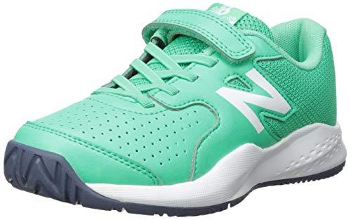 New Balance Boys' 696v3 Hard Court Tennis Shoe neon emerald/vintage indigo 11 W US Little Kid