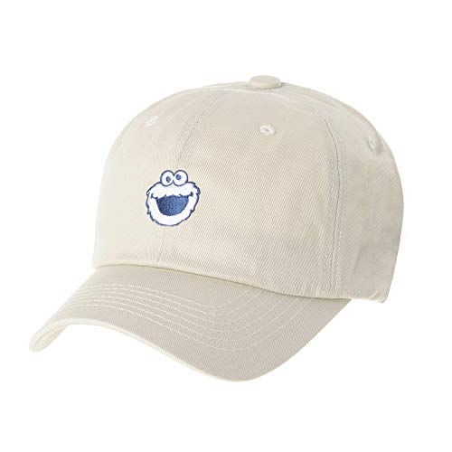 WITHMOONS The Sesame Street Cookie Monster Embroidery Ball Cap HL1656 (Beige)