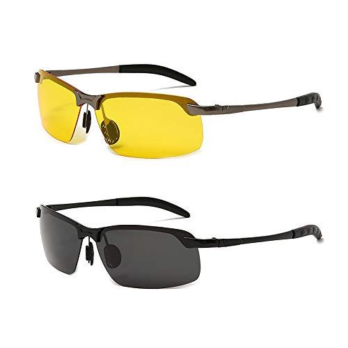 Kaimeilai 2 Stück Polarisierte Sonnenbrillen, Herren Polarisierte Sonnenbrille, Sportbrille Fahrerbrille Metall Rechteckig Rahme, Outdoor Eyewear Sonnenbrillen, Unisex Sonnenbrille