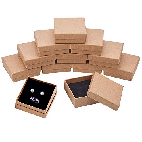 BENECREAT 16 Pack Cajas de Cartón Kraft para Collar 7x7x3cm Pequeña Caja de Regalo Cuadrada de Pulsera y Pendientes Cumpleaños Boda Festival Día de San Valentín